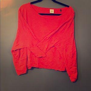 CAbi Dolman Sleeve Crop Red Sweater